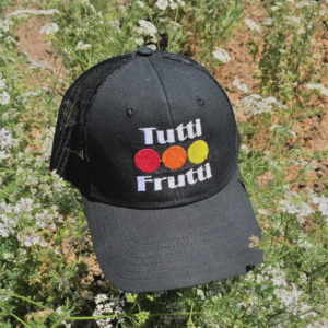 black tutti frutti farms hat